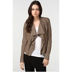 Vince Paper Leather Jacket Taupe Sz S